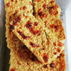 baking - cheese and chive flapjacks
